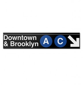 Downtown & Brooklyn Metal Subway Sign